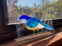 薔薇のパネル鳥の色見2 - ステンドグラスルーチェの日常
