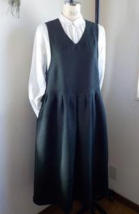ジャンパースカート起毛リネンブラックL - yunoのアトリエ