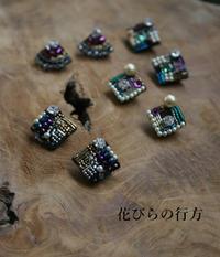 雨の日のブラックビーズピアス - 布の花~花びらの行方 Ⅱ