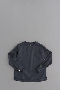ゴーシュ クリアウールヘリンボン クルーネック プルオーバーシャツ (ネイビー) - un.regard.moderne