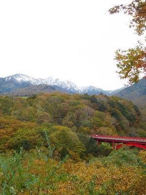 東沢大橋「赤い橋」の紅葉 -