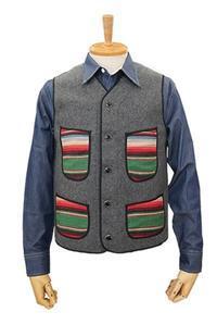 "Dry Bones ""Saddle Blanket Pocket Melton Vest"" - ★ GOODY GOODY ★  -  ROCK'N ROLL SHOP"