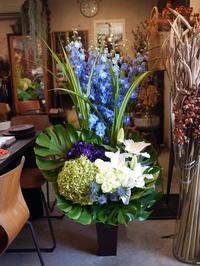 飲食店のオープンにアレンジメント。「青空、青のイメージ」。南6条にお届け。 - 札幌 花屋 meLL flowers