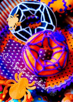 ?spiderweb?Halloween felt donuts?(ままごとなおうちcafe、シーズンDECOシリーズより) - MaMan Marché ***mamaごとなおうちcaféのアトリエ時間***
