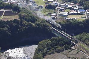 利根川の上で電車と汽車がすれ違う - 2020年秋・上越線 - - ねこの撮った汽車
