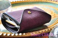 イタリアンレザー・プエブロ・2つ折りコインキャッチャー財布バイオレット・時を刻む革小物 - 時を刻む革小物 Many CHOICE~ 使い手と共に生きるタンニン鞣しの革