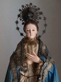 青いローブをまとった聖母像 88.5cm ケージドール /H215 - Glicinia 古道具店