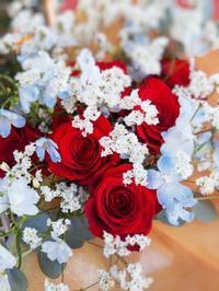 赤バラの花束💐 - ブランシュのはなたち