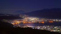 秀麗富士山朝焼けシルエットと諏訪湖の街の灯!高ボッチの夜明けは将に絶景なり♪ - 『私のデジタル写真眼』