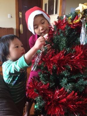 物干し竿とクリスマスツリーの設置 -