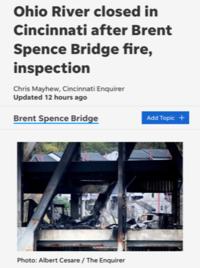 オハイオ川にかかる大動脈、I-71/75の橋が閉鎖中 - しんしな亭 in シンシナティ ブログ