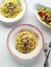 サヴァ缶とキャベツのペペロンチーノでランチ♪ - キッチンで猫と・・・