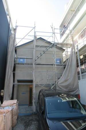 「若柳の家」左官外壁下塗り -