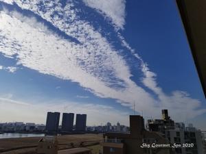 ◆ 「ほうき雲」と「うろこ雲」@多摩川(2020年11月) - 空とグルメと温泉と