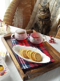 猫とおやつ♪ バタークッキー - キッチンで猫と・・・