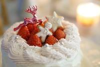 ピンクのクリームが可愛いクリスマスケーキ - Smart chic