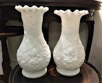 オパリンガラスレリーフ付き花瓶3 - スペイン・バルセロナ・アンティーク gyu's shop