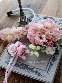 卒園式と入学式用親子お揃いのコサージュ&お子様用カチューシャ - Bonbon Fleur ~ Jours heureux  コサージュ&和装髪飾りボンボン・フルール
