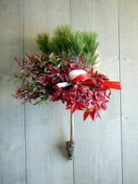 お正月飾り。玄関ドア用。西8丁目のイタリア料理店にお届け。2020/12/30。 - 札幌 花屋 meLL flowers