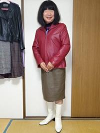 スタンドカラーの赤いジャケットその2 - レザー純子