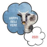 2021年仕事はじめ。今日の羊毛刺しゅう「いつモォありがとうございます」 - 羊毛刺しゅう・羊毛フェルト作家 tamayu活動日記