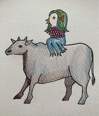 牛に乗って一緒に来る(予定の)アマビエ - ねこちんの日常