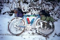 蔵出しフォト。1995年12月、雪の楮佐古小桧曽林道 - Bicycle Touring Photo Gallery.