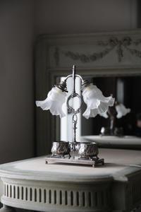 フレンチアンティーク 照明  2灯 テーブルランプ ランプ シルバープレート  新しいコード電球コンセント付 - clair de lune