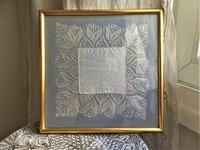 手編みボビンレースハンカチ入り木製金彩額1024 - スペイン・バルセロナ・アンティーク gyu's shop