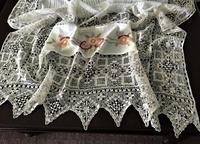 手編みレース縁のコットンカーテン180Hold(Okum.y1.18) - スペイン・バルセロナ・アンティーク gyu's shop