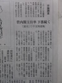 憲法便り#4137:菅内閣支持率下落続く;『讀賣新聞』の世論調査(15日~17日に実施)でも支持率と不支持率が逆転! - 岩田行雄の憲法便り・日刊憲法新聞