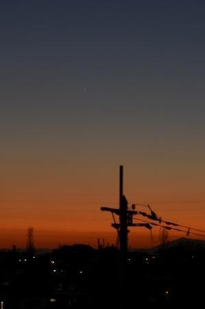大寒の夕空と水星。 - 明暮日の茶ばしら