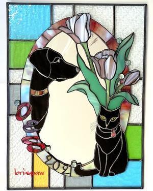 黒ラブと黒猫とチューリップのミラー - ステンドグラス工房 LORI'S PAW 新作ノート