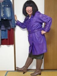 紫色のトレンチコート - レザー純子