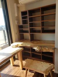 ポプラコブ一枚板天板 ブラックウォールナット無垢デスク納品 - 一枚板テーブル、無垢材家具 原木家具の祭り屋