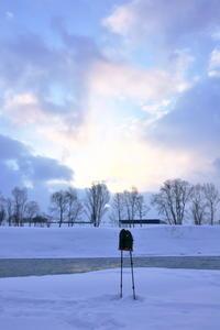朝の空を撮っていたらハヤブサが来た,押した、写っていた2021/01/28 - 今朝の一枚 石狩川の朝