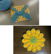 春を感じる黄色♪お客様作品2021.1月 - 空色テーブル  編み物レッスン