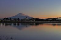 河口から望む今朝の富士山 - 朝の散歩道
