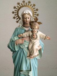 幼子イエスを抱える青いローブの聖母マリア53cm/H369 - Glicinia 古道具店