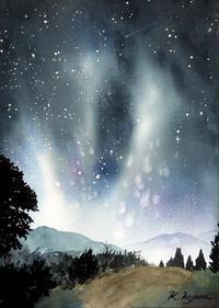 夜空の星たち - 青山一樹 水彩画のひととき