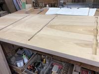 ワーキングデスクの反り止め加工 - 手作り家具工房の記録