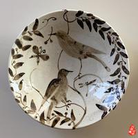二人展出品予定:粉引鉄絵八寸丸皿 - nonacafe庵『奥の院』通常観覧