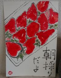 いちご「朝採りだよ」 - ムッチャンの絵手紙日記