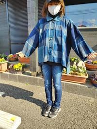 メルカリに出品!藍格子柄のポンチョ風ジャケット - 紅い風