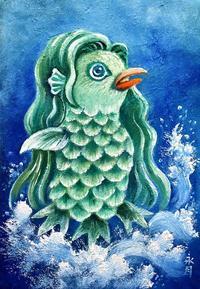 「疫病退散!アマビエ様 Ⅱ」油絵 - 油絵画家、永月水人のArt Life