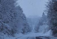 雪の朝 - 大山山麓、山、滝、鉄道風景