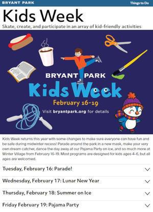 ブライアント・パーク・キッズ・ウィーク(Bryant Park Kids Week) 2021 - ニューヨークの遊び方