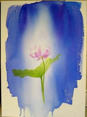 啓子おばさんの水彩レッスン(10) 水遊び。蓮の花のバック - 小林啓子水彩画の部屋