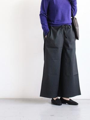 eleven 2nd Light Cotton Drawstring Wide Pants / Black - 『Bumpkins putting on airs』