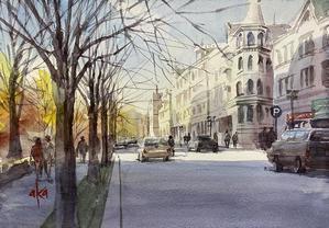 ヘルシンキの街並み 30分動画です - 赤坂孝史の水彩画